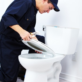 Professional plumber doing toilet reparation. Plumbing repair se
